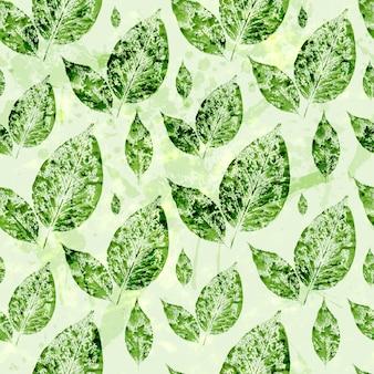 水彩の緑の葉のシームレスパターン