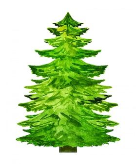 白い背景に分離された水彩画のクリスマスツリーシルエット