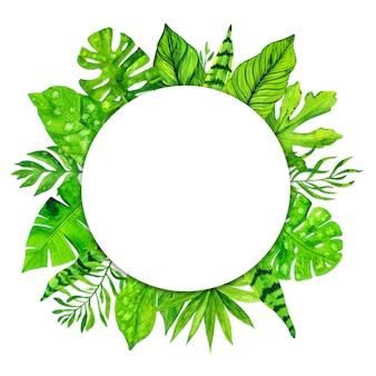 白い背景の上の熱帯のエキゾチックな葉のフレーム。水彩イラスト
