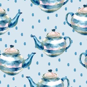 ティーポットとシームレスな水彩画の背景