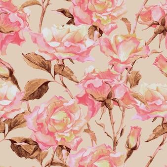 バラと水彩のシームレスパターン