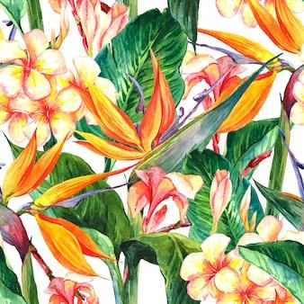 エキゾチックな花と熱帯のシームレスパターン