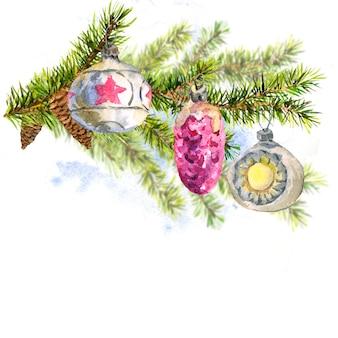 モミの木の小枝とクリスマスの水彩画カード