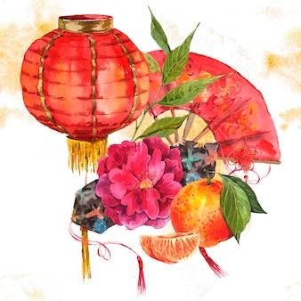 水彩画背景中国の旧正月要素
