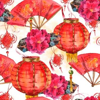 Бесшовные акварель китайский новый год фон