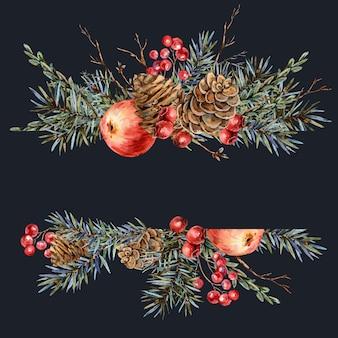 Акварельный рождественский природный шаблон из еловых веток, красного яблока, ягод, сосновых шишек, винтажной ботанической открытки