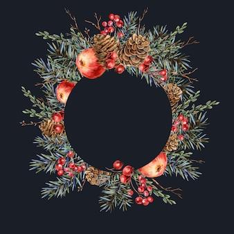 Акварель рождество натуральный круглая рамка из еловых веток, красное яблоко, ягоды, сосновые шишки, старинные ботанические иллюстрации