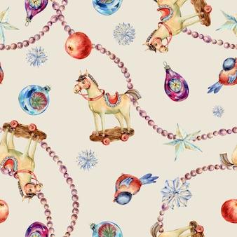 水彩ビンテージクリスマスおもちゃのシームレスなパターン。木製の馬、星、赤いリンゴ、パールガーランドビーズテクスチャ