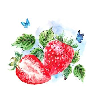 手描きの夏の水彩画いちご