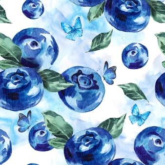 夏水彩ブルーベリーシームレス背景