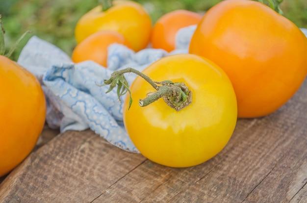 黄色のトマトの木製の背景