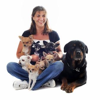 Женщина и ее собаки