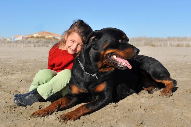 Ротвейлер и ребенок на пляже