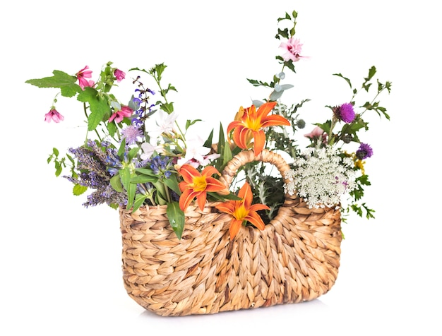 バッグと花