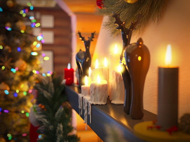 クリスマスツリーと装飾の新年インテリア