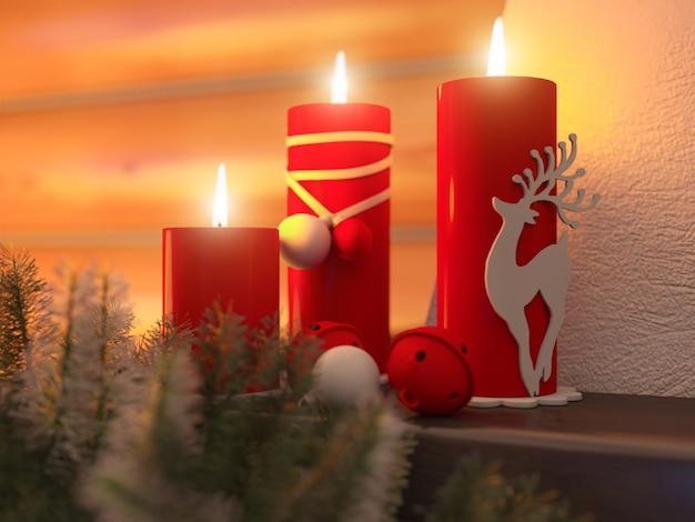 クリスマスキャンドルで新年インテリア
