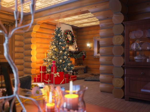 クリスマスツリーとログから家のプレゼントで新年インテリア。飾られたクリスマスツリー。