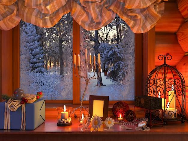 新年のインテリア。写真には、贈り物、花、ろうそくのあるテーブルが表されています。冬の風景に対して