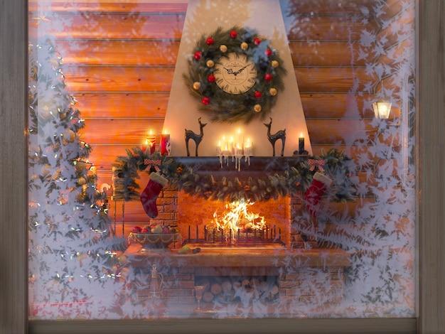 ログから家のクリスマスツリー、プレゼント、暖炉のある新年インテリア。