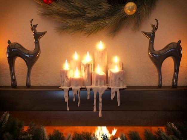 ログから家の暖炉で新年インテリア。