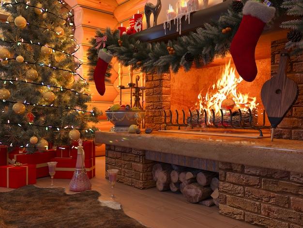 ログから家のクリスマスツリー、プレゼント、暖炉のある新年インテリア。飾られたクリスマスツリー。