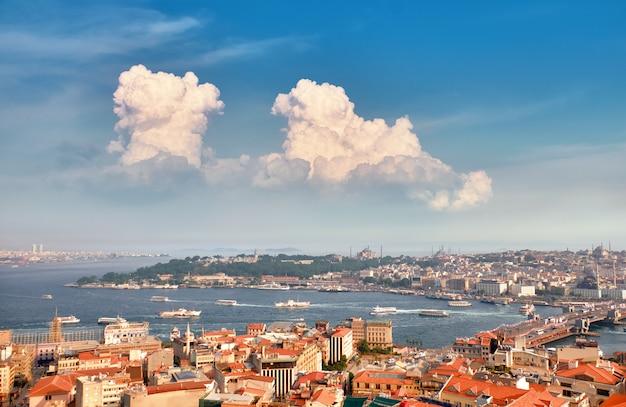 トルコ、イスタンブールのガラタ塔からゴールデンホーンの空中パノラマ