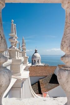 リスボン、サンヴァンセンテデフォーラ教会の屋根からのパンテオン