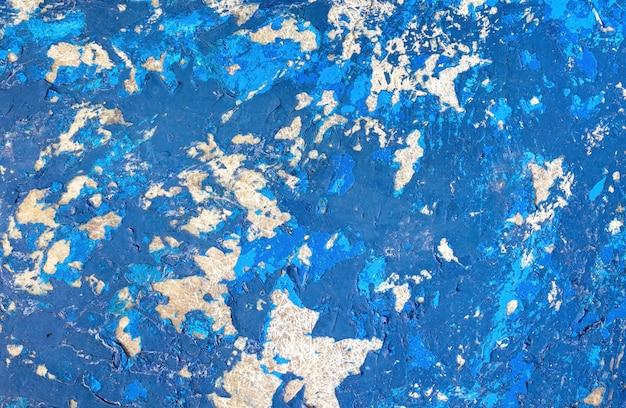 グランジテクスチャ、ガラス繊維の表面から剥離青いペンキ