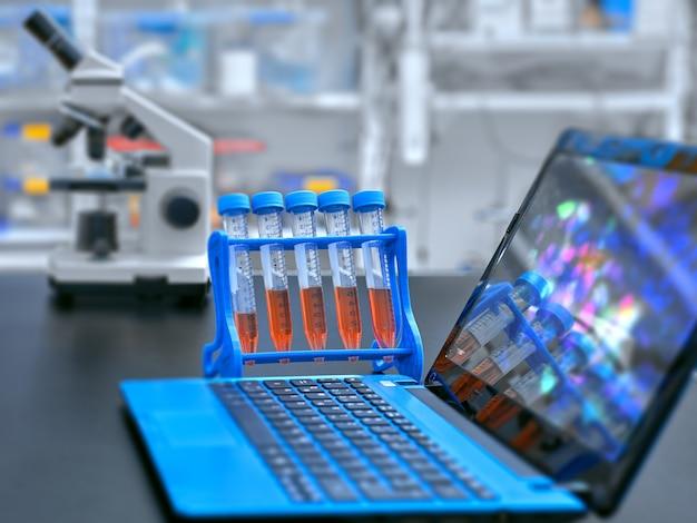 顕微鏡、液体サンプル、顕微鏡画像付きポータブルコンピューター