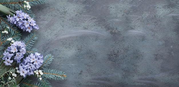 緑と青の冬のテーブル:ヒヤシンスの花、モミの小枝と暗い、コピースペースの葉