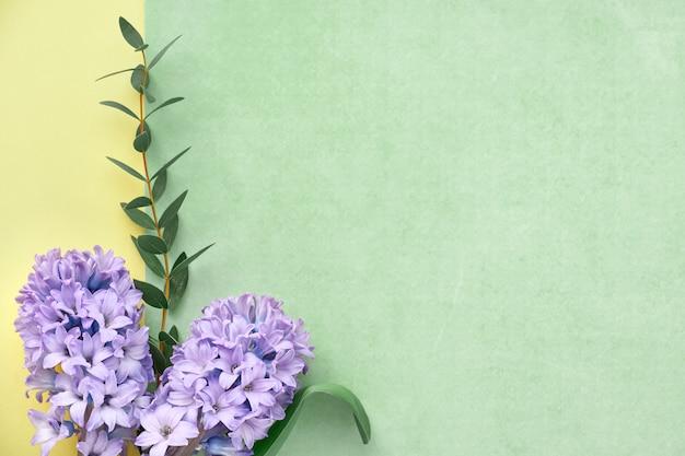 青いヒヤシンスの花とユーカリの葉で飾られた緑、紫、黄色のフレーム