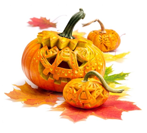Хэллоуин тыква на белом