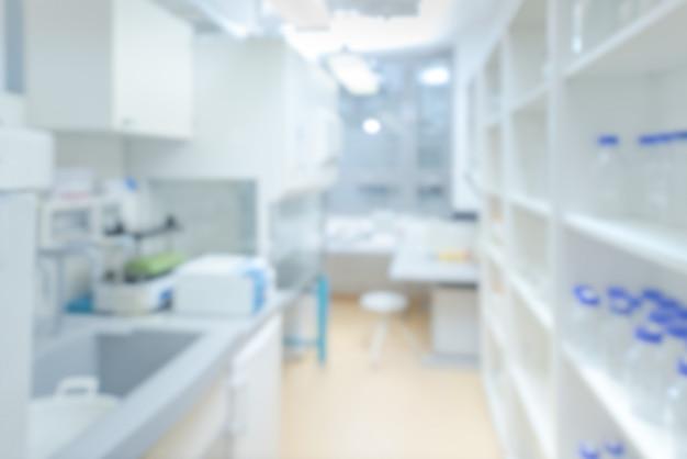 科学的背景:焦点が合っていない現代の実験室のインテリア