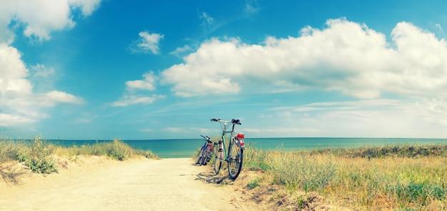 ビーチでの自転車