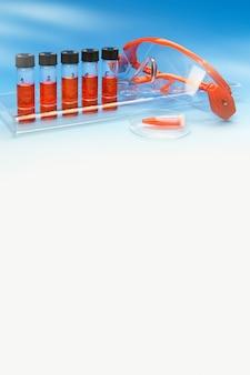 青と赤のテキストスペースに科学的な縦型