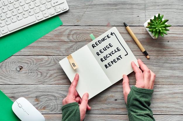 Концепция нулевого отхода сознательного потребления плоской планировки, вид сверху, держащей модный блокнот с текстом «уменьшить, повторно использовать, переработать, повторить». деревянный стол с клавиатурой, мышью и суккулентом