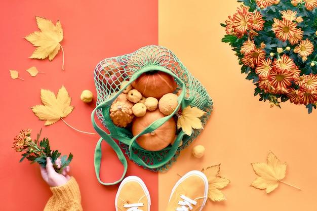 緑のメッシュバッグにオレンジ色のカボチャを持っている手。秋の色で創造的な分割フラットレイアウト