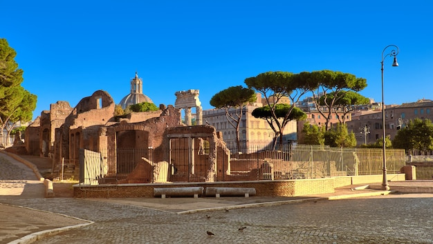 イタリア、ローマのフォロロマーノ、またはシーザーのフォーラムのパノラマ画像