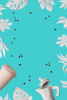 エキゾチックな紙の葉、モンステラ、コピースペースと青いミントの背景にイチジクの葉と廃棄物のコーヒーの背景がゼロ。セラミックエスプレッソコーヒーメーカーと環境に優しい再利用可能な竹のコーヒーマグ。