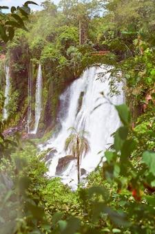 Водопады игуасу в аргентине, вид изо рта дьявола, крупный план мощного водного каскада, создающего туман над рекой игуасу. тонированное изображение с вспышкой. субтропический дождевой лес.