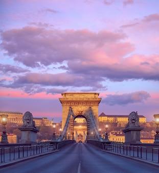 ブダペスト城とブダペストの日の出の有名なチェーンブリッジ
