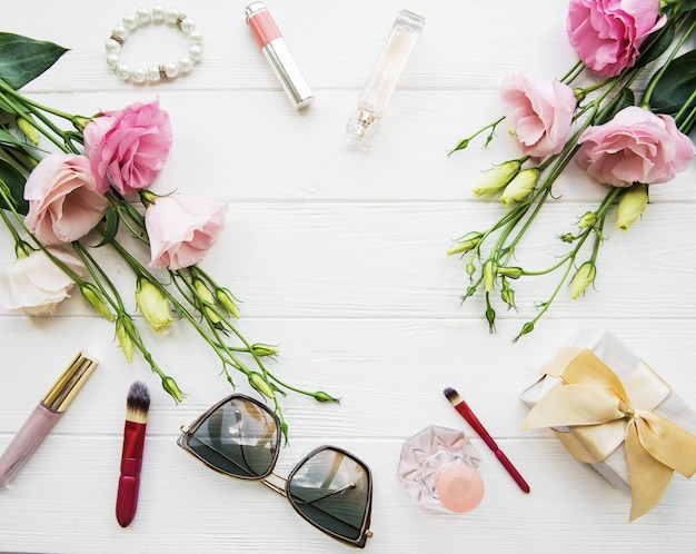 花と化粧品