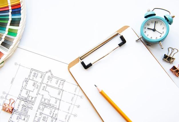 建築家の職場のトップビュー
