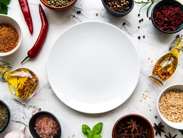 Пустая тарелка и рамка из специй