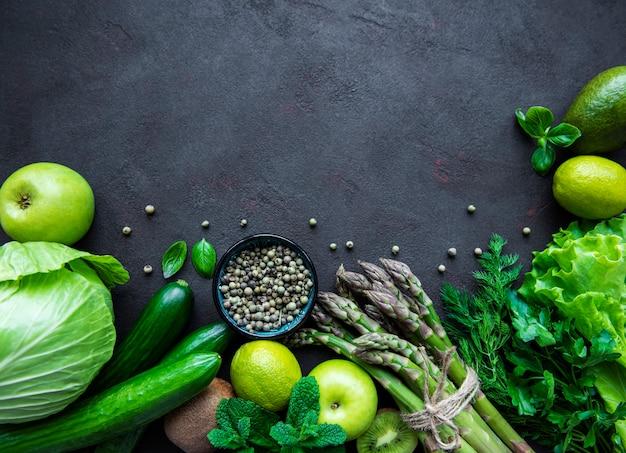 Здоровая вегетарианская еда концепции фон