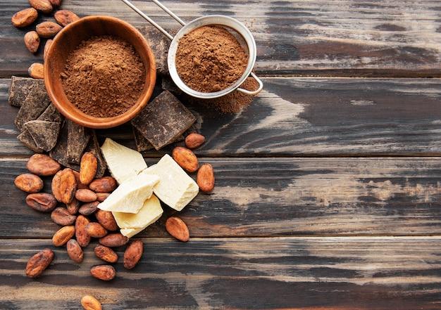 ココアパウダーと豆
