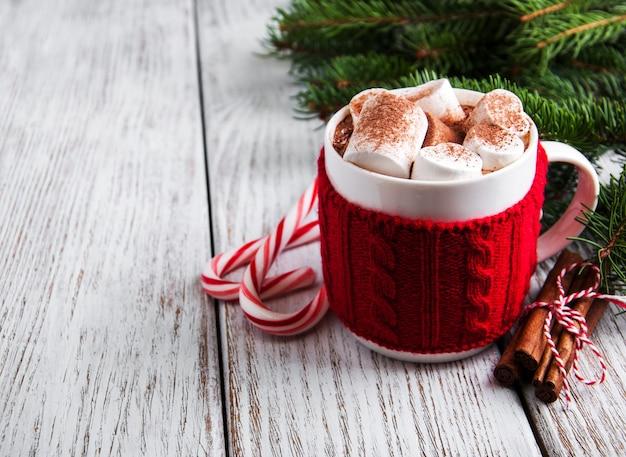 Рождество какао с зефиром