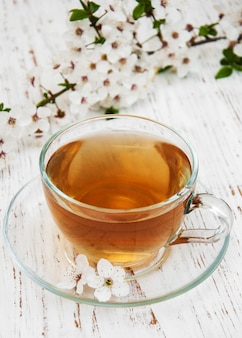 一杯のお茶と春の花