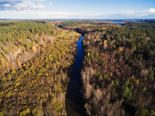森に囲まれた川に架かる道路橋の美しい空撮