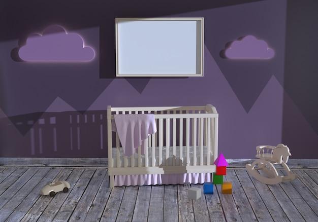 ベビーベッドと空のフレームを備えた子供部屋